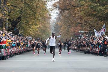Eliud Kipchoge in action in Vienna (AFP / Getty Images)