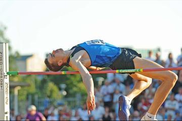 Yaroslav Rybakov competes in Karlstad, Sweden, winning with 2.33m (Hasse Sjögren)