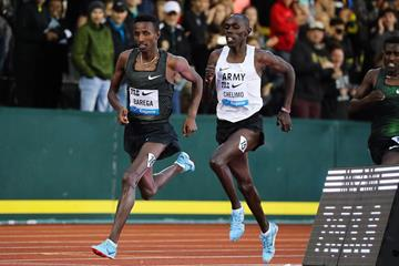 Selemon Barega on his way to winning over two miles at the IAAF Diamond League meeting in Eugene (Victah Sailer)