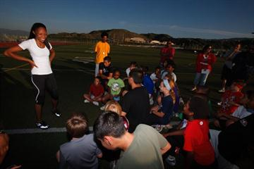 Allyson Felix talks to young kids in Santa Clarita, California (Getty Images)