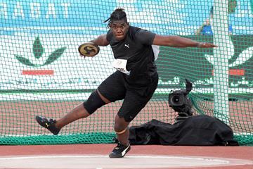 Discus winner Fedrick Dacres at the IAAF Diamond League meeting in Rabat (Kirby Lee)