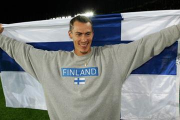 Tommi Evila of Finland celebrates winning bronze in the men's Long Jump (Getty Images)