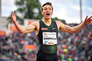 Karsten Warholm after setting a European 400m hurdles record at the IAAF Diamond League meeting in Oslo (Deca Text & Bild)