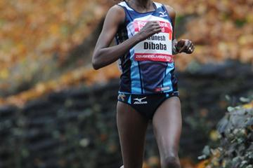 Tirunesh Dibaba en route to a 46:28 World record in the 15Km in Nijmegen (Aktiefoto)