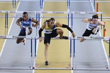 Pascal Martinot-Lagarde (centre) at the 2016 French indoor championships (Jean-Pierre Durand)