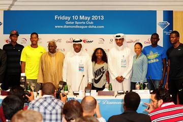 IAAF President Lamine Diack and Qatar Athletics Federation President HE Dahlan al Hamad with athletes at the Doha 2013 Diamond League press conference (Errol Anderson)