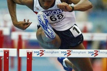 Colin Jackson (GBR) in the heats of the men's 60m Hurdles (Getty Images)