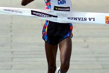 In his debut, Philemon Tarbei winning the Turin Marathon (Lorenzo Sampaolo)