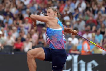 Barbora Spotakova at the Diamond League meeting in London (Kirby Lee)