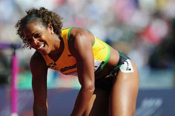 Brigitte Foster-Hylton of Jamaica reacts after competing in the Women's 100m Hurdles heat on Day 10 of the London 2012 Olympic Games at the Olympic Stadium on August 6, 2012 (Getty Images)