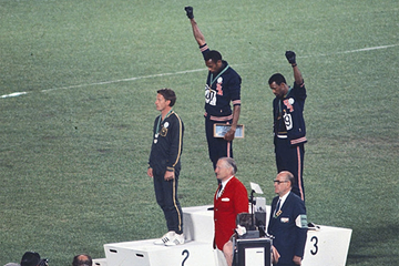 Peter Norman, Tommie Smith and John Carlos on the 200m podium at the 1968 Olympic Games in Mexico City (Getty Images)