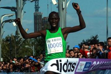 Francis Kiprop of Kenya crosses the line in first place (Organisers)