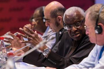 Lamine Diack at the 2014 IAAF Council Meeting in Monaco, day two (Philippe Fitte / IAAF)