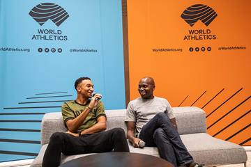 Donavan Brazier and Wilson Kipketer ahead of the World Athletics Awards 2019 (Philippe Fitte)
