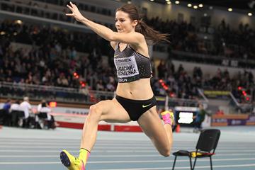Anna Jagaciak, winner of the triple jump at the IAAF World Indoor Tour meeting in Torun (Jean-Pierre Durand)