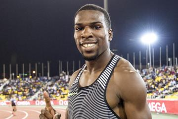 Ameer Webb at the 2016 IAAF Diamond League meeting in Doha (Hasse Sjogren)