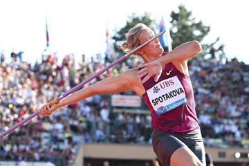 Barbora Spotakova at the 2014 IAAF Diamond League meeting in Lausanne (Giancarlo Colombo)