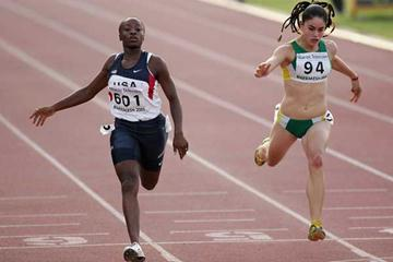 Bianca Knight of USA wins the Girls' 100m final at the World Youth Championships (Getty Images)