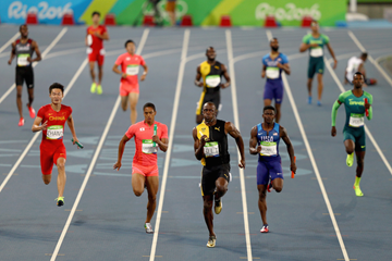 Last leg of the men's 4x100m relay in Rio ()