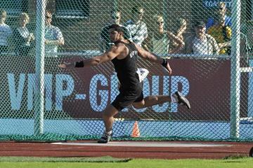Egypt's Omar El Ghazaly throws 66.34m in Sollentuna (Hasse Sjögren)