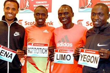 Siraj Gena, John Kiprotich, Felix Limo and Gilbert Yegon meet the press in Toronto (Victah Sailer - Photo Run)