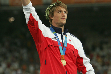 Andreas Thorkildsen of Norway celebrates winning the men's javelin (Getty Images)