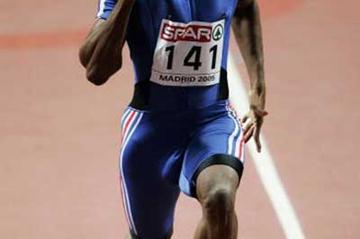 Ronald Pognon (FRA) runs smoothly in his 60m heat (Getty Images)