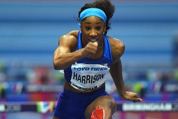 Kendra Harrison in the 60m hurdles at the IAAF World Indoor Championships Birmingham 2018 (Getty Images)
