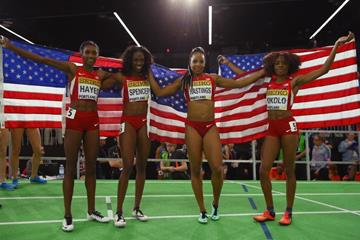 The US women's 4x400m team after winning gold at the IAAF World Indoor Championships Portland 2016 (Getty Images)