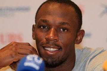 Usain Bolt at the pre-meet press conference in Zurich (Gladys Chai van der Laage)