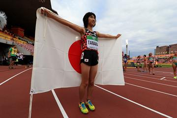 Nozomi Tanaka after winning the 3000m at the IAAF World U20 Championships Tampere 2018 (Getty Images)