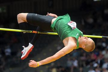 Jesse Williams leaps 2.37m at the 2011 US Champs (Kirby Lee)