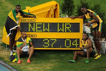 Jamaica's world-record 4x100m team at the 2011 IAAF World Championships (AFP / Getty Images)