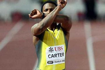 Xavier Carter signals he is the 'X-man' after his meet record win in Zürich (Getty Images)
