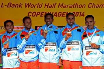 The Eritrean team receive their team gold medal at the 2014 IAAF World Half Marathon Championships in Copenhagen (Getty Images)