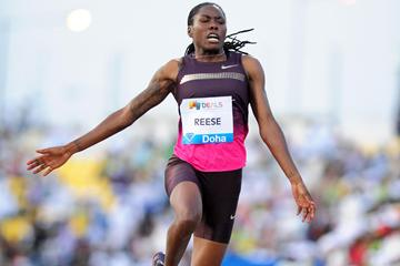 Brittney Reese sails out to 7.25m in the Long Jump at the 2013 Doha Diamond League (Errol Anderson)