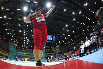 Gong Lijiao in the shot put at the IAAF World Indoor Championships (AFP / Getty Images)