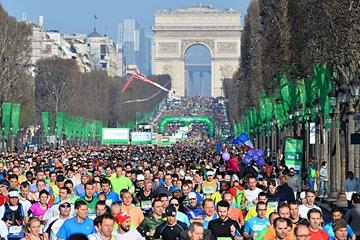 Competitors on the Champs Elysees during the 40th Paris Marathon (AFP/Getty)