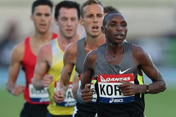 Japhet Korir leads the pack in the 5000m in Melbourne (Getty Images)
