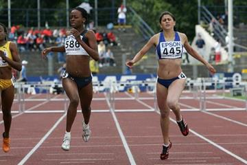 Dalilah Muhammad of USA wins the 400m hurdles at the 2007 IAAF World Youth Championships in Ostrava (Getty Images)