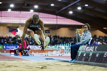 Yulimar Rojas in the triple jump at the World Athletics Indoor Tour meeting in Madrid (Dan Vernon)
