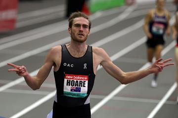 Oliver Hoare wins the 1500m at the New Balance Indoor Grand Prix (Getty Images)