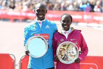 2014 London Marathon winners Wilson Kipsang and Edna Kiplagat (Getty Images)