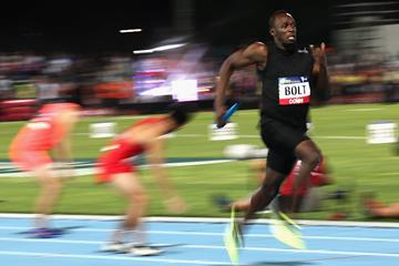 Usain Bolt in the 4x100m relay at the Nitro series finale in Melbourne (Getty Images)