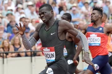 Abdalelah Haroun on his way to winning the 400m at the IAAF Diamond League meeting in London (Kirby Lee)