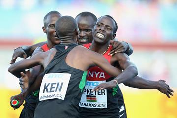 (L-R) Sammy Kibet, Job Koech Kinyor, Ferguson Cheruiyot Rotich and Kirongo Alfred Kipketer of Kenya celebrate after winning the Mens 4x800 metres relay  (Getty Images)