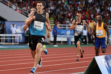 Pierre-Ambroise Bosse in the 800m at the IAAF Diamond League meeting in Rabat (Kirby Lee)