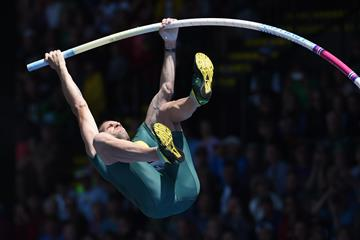 Renaud Lavillenie at the 2016 IAAF Diamond League meeting in Eugene (Kirby Lee)