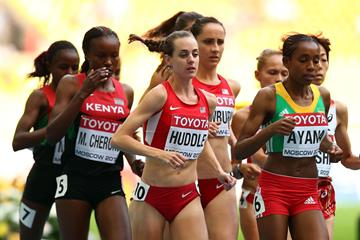Action shot Molly Huddle in the womens 5000m at the IAAF World Championships Moscow 2013 (Getty Images)
