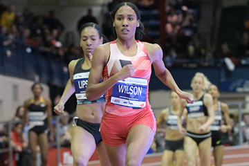 Ajee Wilson wins the 800m at the Millrose Games (Kirby Lee)